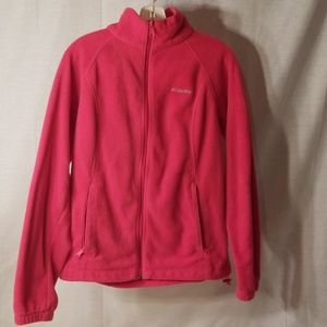 Bright red columbia fleece jacket